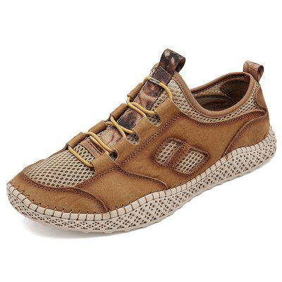 AILADUN Men Breathable Outdoor Casual Shoes Large Size Handmade Shoe Footwear with Round Toe