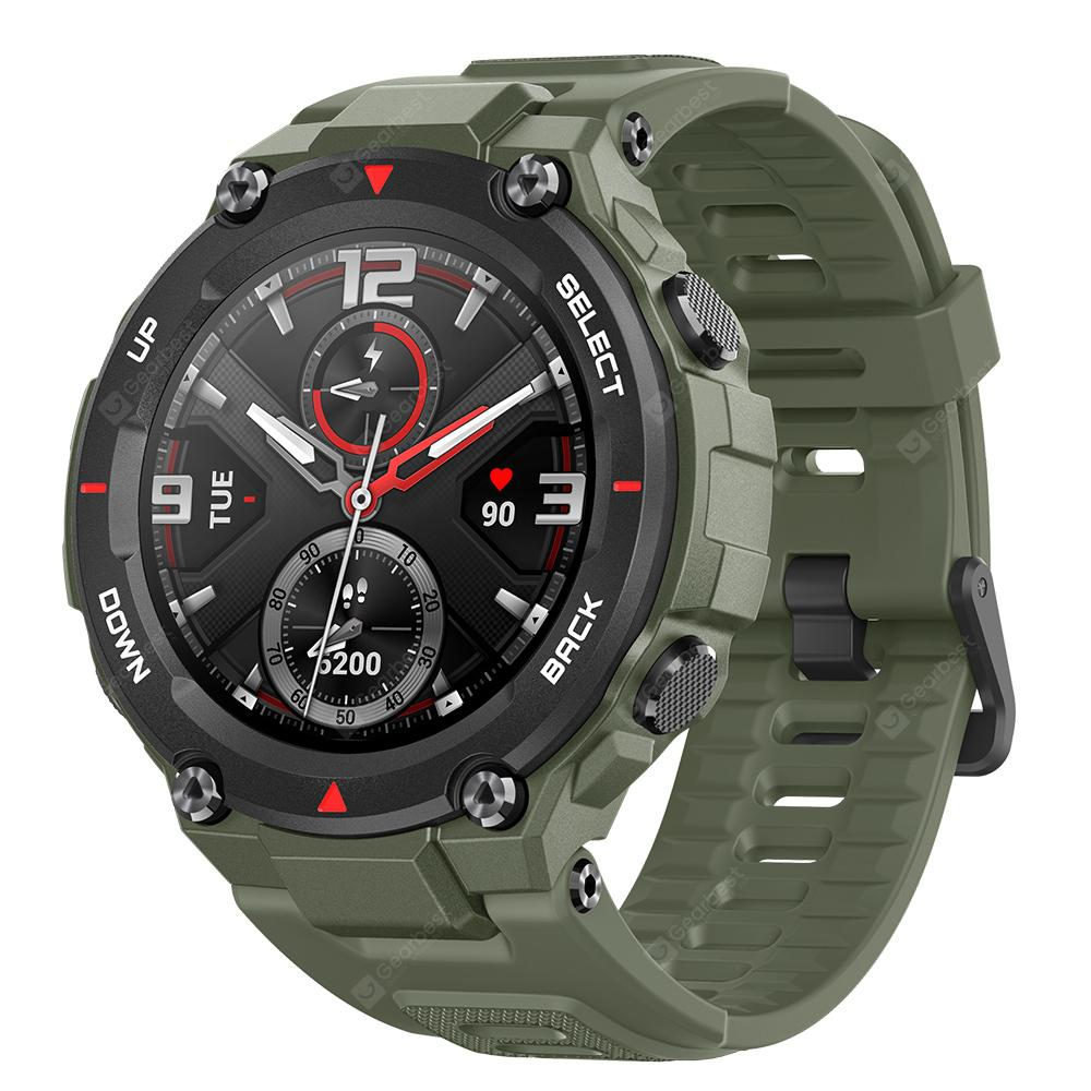 Amazfit T-Rex Outdoor Smart Watch 1.3 inch AMOLED Color Screen 20 Days Battery Life 5 ATM Waterproof 14 Sports Modes 12 Military Certifications Dual GPS System Global Version - Army Green