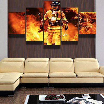 Firemen Modern Home Decorative Painting without Framed Prints 5pcs