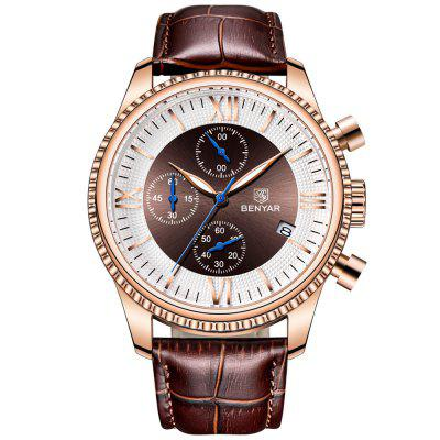 Benyar 5129 Fashion Heren Horloges Multifunctionele waterdichte lederen band Man horloge met kalender functie