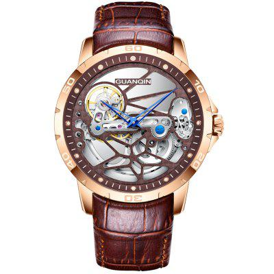 GUANQIN GJ16145 Hollow Out Automatic Mechanical Mens Watch Retro Luxury Male Watches With Leather Band