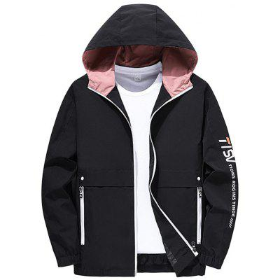 Autumn Winter Solid Color Mens Jackets Hooded Male Coats Polyester Zipper Casual Fashion Outwear