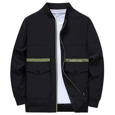 Stand Collar Slim Mens Jackets Polyester Zipper Casual Coats Autumn Winter Male Outwear