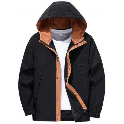 Slim Mens Jackets Polyester Zipper Casual Coats Fashion Hooded Male Outwear for Autumn Winter