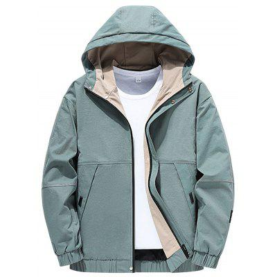 Zipper Hooded Male Jackets Mens Polyester Casual Coats Long Sleeves Outwear for Autumn Winter