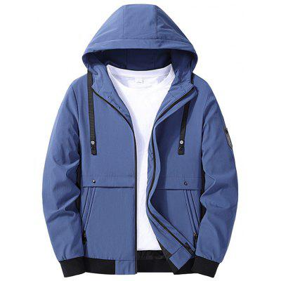 Polyester Mens Jackets Zipper Autumn Winter Casual Coats Fashion Hooded Male Outwear