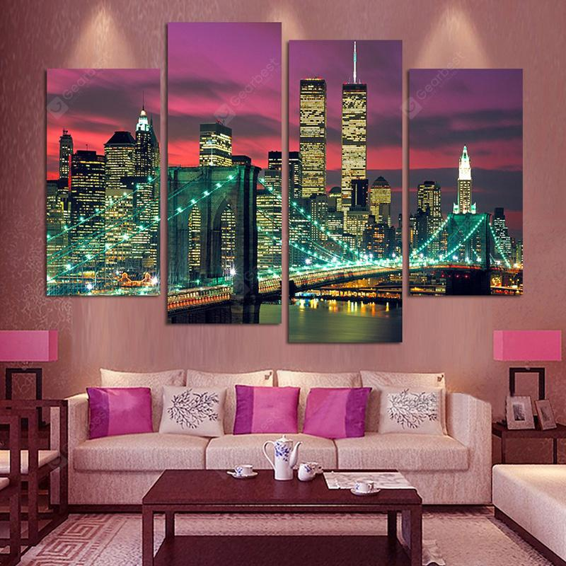 Buildings Creative Modern Home Decorative Painting without Framed Prints 4pcs