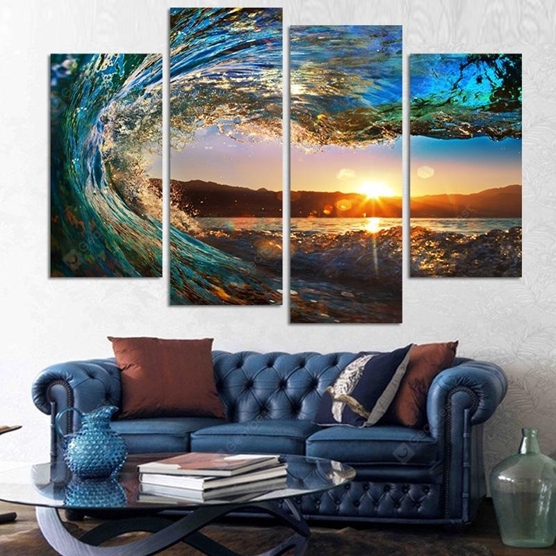 Sea Wave Modern Home Decorative Painting without Framed Prints 4pcs