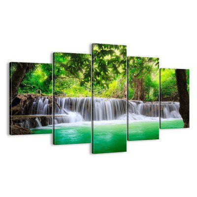 Waterfall Modern Home Decorative Painting without Framed Prints 5pcs