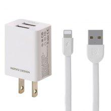 REMAX RP-U14 Dual USB Travel Charger 2.4A Data Line Lightning Charging Cable For IPhone Xiaomi Huawei