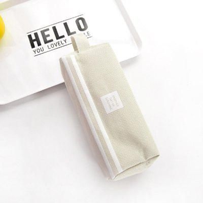 Canvas School Pencil Cases Solid Color Pen Zipper Bag Student Pouch Large Capacity Box Office Stationary Supplies