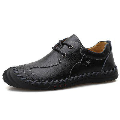 IZZUMI Men's Casual Leather Loafers Low Help Lace up Handmade Leisure Shoes for Men