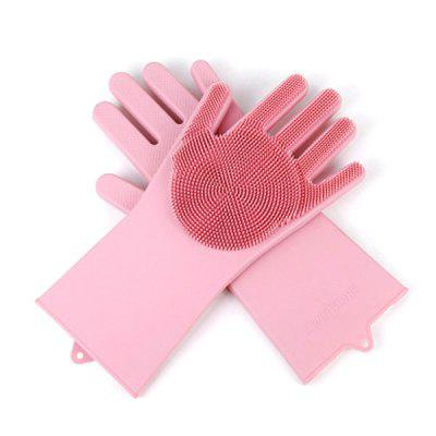 Silicone Dishwashing Gloves Brush Slip Resistant Household Kitchen Glove Cleaning Tools