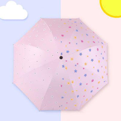 Flowers Color Changing Umbrellas Rain or Sun Dual-use Folding Umbrella Sunshade with 8 Bones for Women Girls