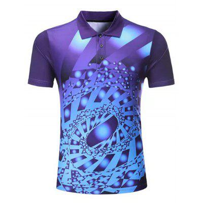 Men Colorful Printed Sports T-shirt Short-sleeved Turn Down Collar Shirt Quick-drying Male Summer Sportswear