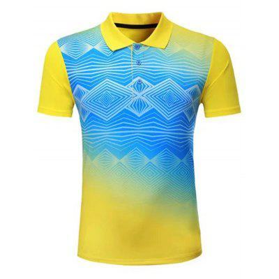 Geometrische patronen Men Casual Sports T-shirt van de turn down kraag shirt met korte mouwen T-shirt sneldrogend Summer Clothes