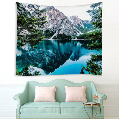 Navy Blue Mountain Lake Printing Polyester Tapestry pre Home Decor
