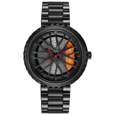 Sanda Male Students Round Waterproof Steel Quartz Watch