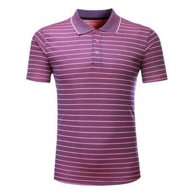 Striped Short Sleeved T-shirt Turn Down Collar Shirt Summer Quick Drying Thin Clothing for Men
