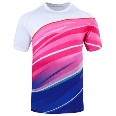 Summer Men Jogging Suits Male Badminton Sportswear Tournament Training Quick Drying Short-sleeved T-shirt
