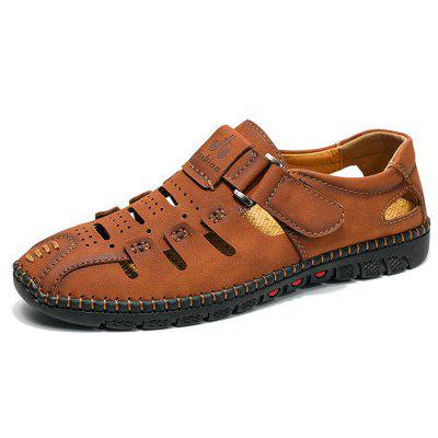 IZZUMI Men's Hollow-out Sandals Hand-sewn Casual Shoes Plus Size for Men
