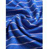 Striped Short Sleeved T-shirt Turn Down Collar Shirt Summer Quick Drying Thin Clothing for Men - BLUEBERRY BLUE