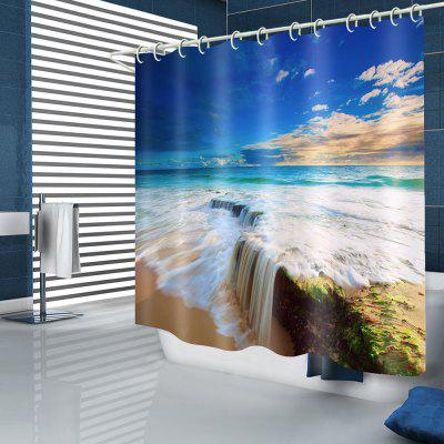 Blue Sky Sea Sand Pattern Waterproof Shower Curtain Polyester Home Decor