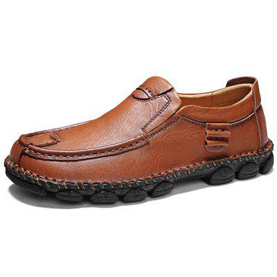 AILADUN Male Casual Leather Shoes Slip On Lager Size Footwear with Round Toe for Men