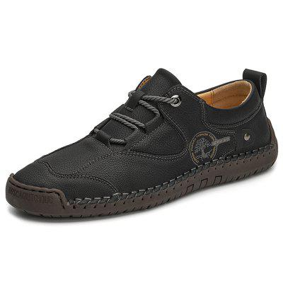 IZZUMI Lace Up Men Casual Shoes Large Size Leather Handmade Male Footwear