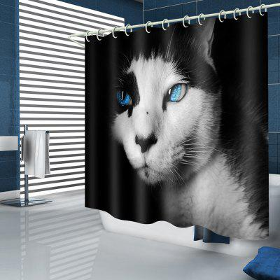 Mysterious Blue-eyed Cat Pattern Waterproof Shower Curtain