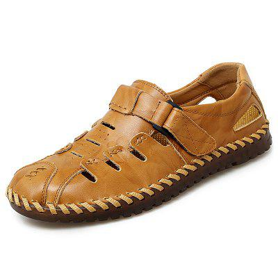 IZZUMI Hollow Out Breathable Male Sandals Leather Men Large Size Casual Shoes