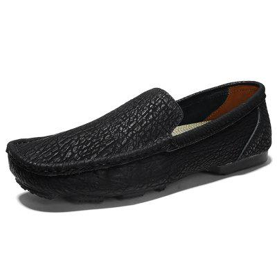 AILADUN Male Slip On Shoe Breathable Shoes Men Leather Casual Footwear