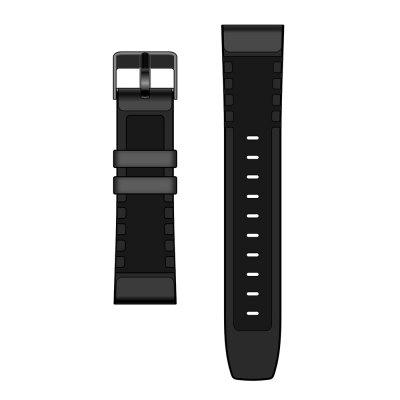 Black Genuine Leather Strap for OUKITEL Z32 Smart Watch