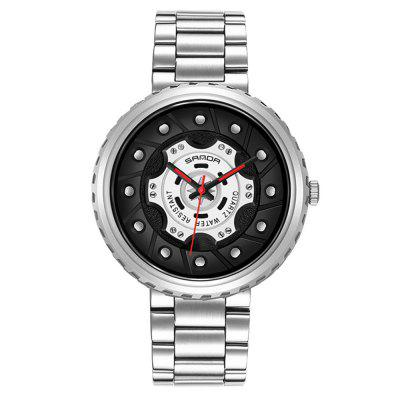 SANDA 1043G Men Hollow Out Quartz Watch Waterproof Fashion Male Watches with Big Dial Stainless Steel Band