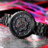 SANDA 1043G Men Hollow Out Quartz Watch Waterproof Fashion Male Watches with Big Dial Stainless Steel Band - BLACK