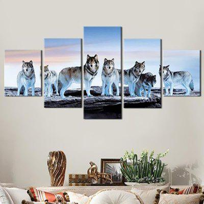 DC1-100.24 Wolf Pattern Precision Canvas Painting Home Decor Printed Pictures without Frame 5pcs