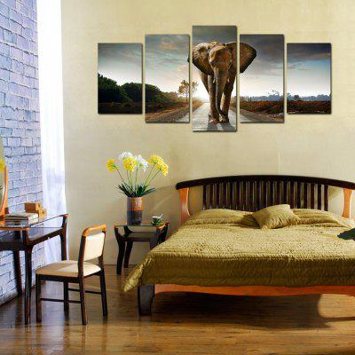 DC-100.36 Walking Elephant Pattern Canvas Painting Precision Pictures Printed Home Decor without Frame