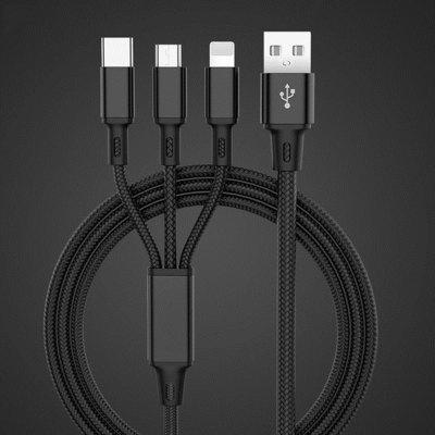 1.2m USB Charger Cable 3 in 1 Micro USB Cable Android iOS Type-C Phone Cable for iPhone 11 Pro Max XS X 8 / Samsung 11