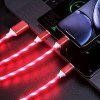1.2m 3 in 1 USB Charging Cable Type-C Micro USB Phone Charger LED Light Data Line for iPhone 11 Pro - RED