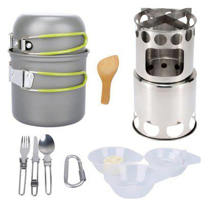 Outdoor Camping Cookware Set Equipment with Stove Tableware Cookware