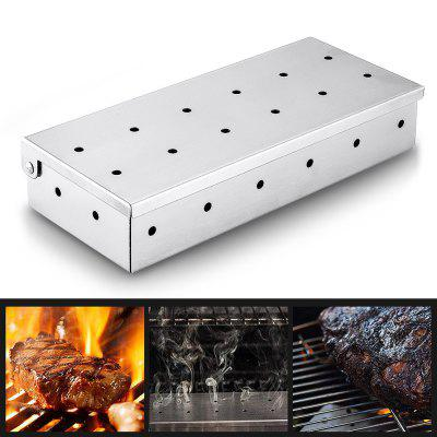 Stainless Steel Grilling Smoker Box, Charcoal Grills with Stainless Steel Wood Chip Smoker Box
