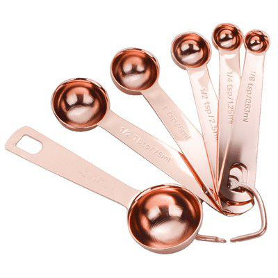 Measuring Spoons Golden Stainless Steel Measuring Dry Liquid Ingredients with Ring Holder 6pcs / Set