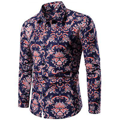 Men Printing Shirt Long Sleeve Turndown Collar Regular