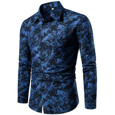Men Long Sleeve Turndown Collar Regular Printing Shirt
