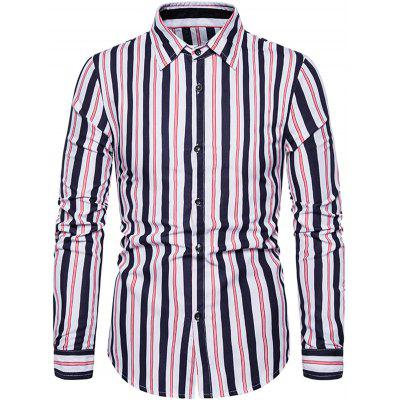Casual Striped Male shirt turn down kraag met lange T-shirt met korte mouw voor mannen 1502-C201