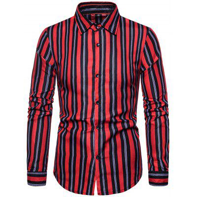 Casual Striped Male Shirt Turn Down Collar Long Sleeve T-shirt for Men 1502-C201
