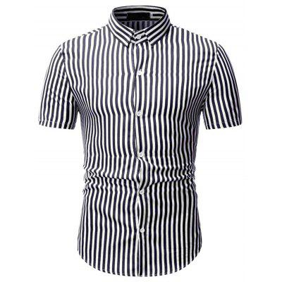 Striped Men Shirts Short Sleeved Male Business T-shirt with Turn Down Collar 1801-TW25