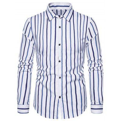 Long Sleeved Men Striped Shirt Male Business T-shirt with Turn Down Collar 1502-C202