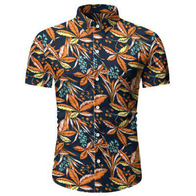 3D Printed Leaves Men Shirts Male Fashion Short-sleeved T-shirt for Summer 1801-TW12