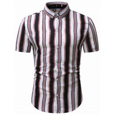 Striped Men Shirts Short Sleeve Business T-shirt with Turn Down Collar 1801-TW22